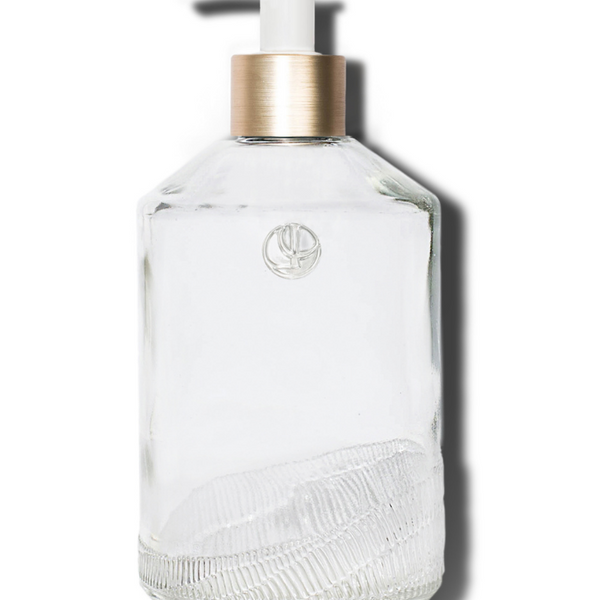 Glass Soap Empty Bottle, White Pump