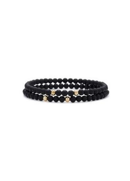 Rami Onyx with Yellow Gold Bracelet 4mm