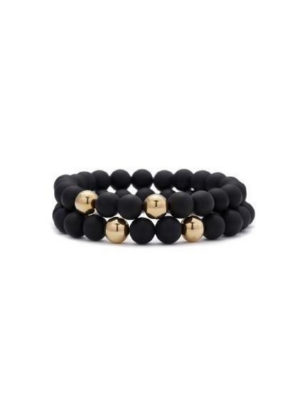 Rami Onyx with Yellow Gold Bracelet 8mm