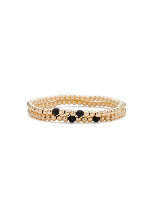 Tony Yellow Gold and Onyx Bracelet 4mm