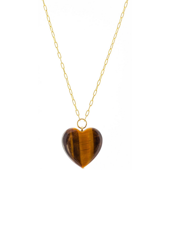 Tiger's Eye Heart Gold Necklace