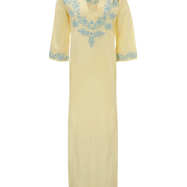 Lotus  kaftan Yellow with blue