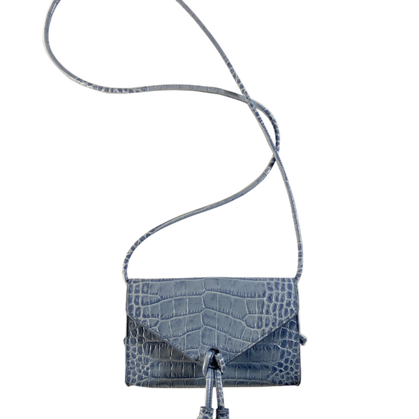 In Love Mini Bag - Blue Embossed Crocodile Leather