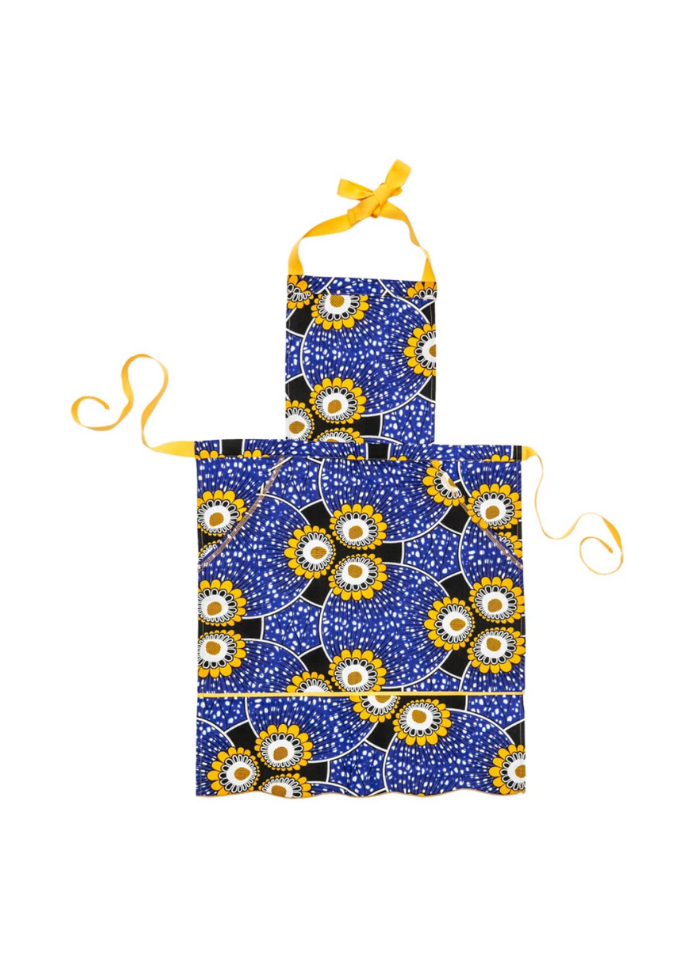 Pom Pom Apron in Blue Sunflowers