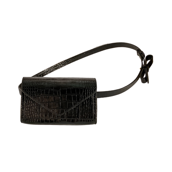 Intasca Crossbody Bag - Black Crocodile Print
