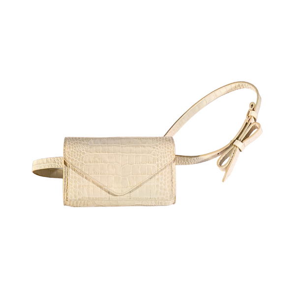 Intasca Crossbody Bag - White Crocodile Print