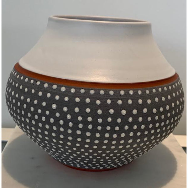 White Dot on Grey Vase