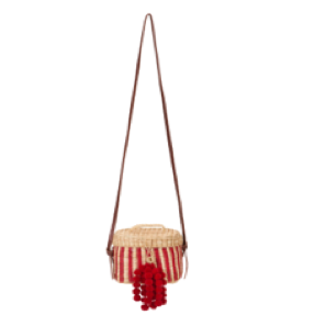 Red Kiki Striped Shoulder Bag with Pompom