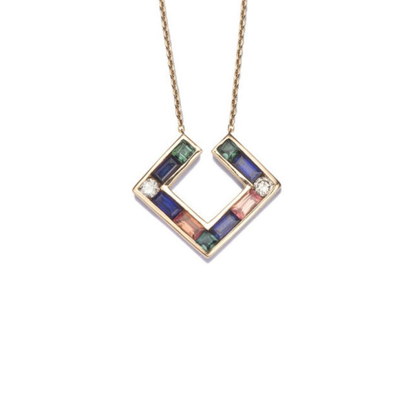 Open Square Necklace with sapphires, tourmalines and round cut diamonds