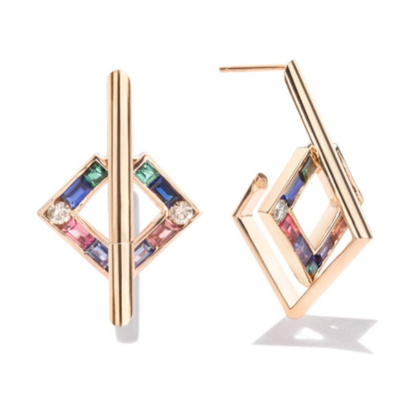Open Square Earrings with Sapphires, Tourmalines and Round Cut Diamonds