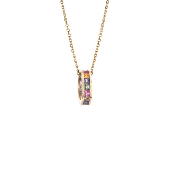 Otto Necklace with Multicolored Sapphires Princess Cut on Diamond Cut Chain