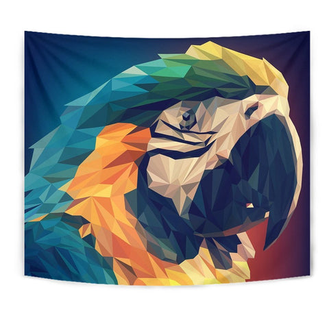 Blue And Yellow Macaw Parrot Vector Art Print Tapestry-Free Shipping