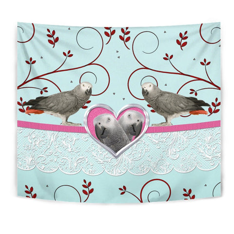 African grey Parrot Print Tapestry-Free Shipping
