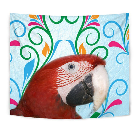 Red-and-green Macaw Parrot Print Tapestry-Free Shipping