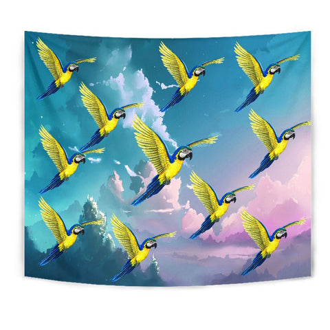 Blue And Yellow Macaw Parrot Print Tapestry-Free Shipping