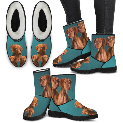 Vizsla Print Faux Fur Boots For Women-Free Shipping