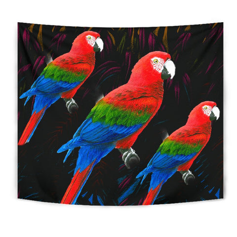 Red And Green Macaw Parrot Print Tapestry-Free Shipping