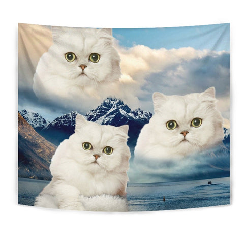 White Persian Cat On Mountain Print Tapestry-Free Shipping