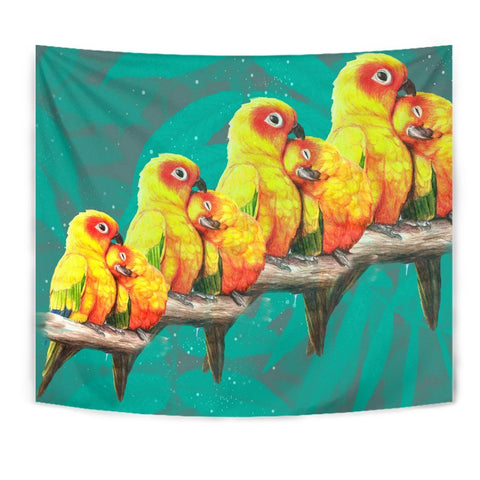 Sun Conure Parrot Print Tapestry-Free Shipping