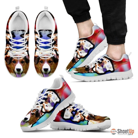 English Shepherd Dog Print Running Shoe For Men- Free Shipping