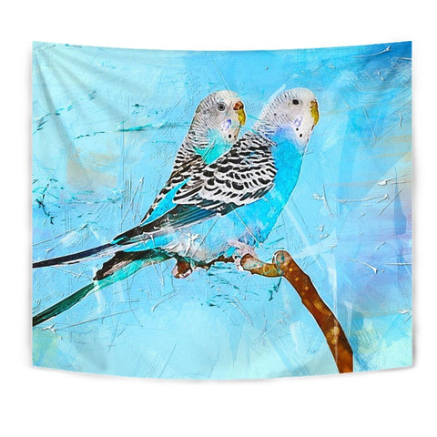 Blue Budgie Parrot Art Print Tapestry-Free Shipping