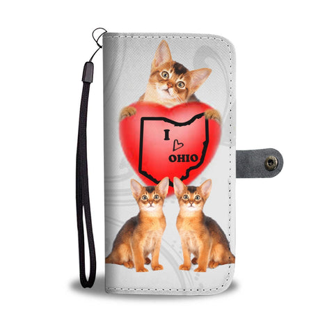 Abyssinian Cat Print Wallet Case-Free Shipping-OH State