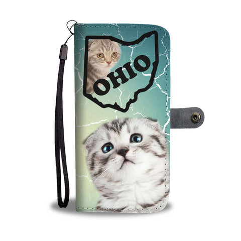 Scottish Fold Cat Print Wallet Case-Free Shipping-OH State