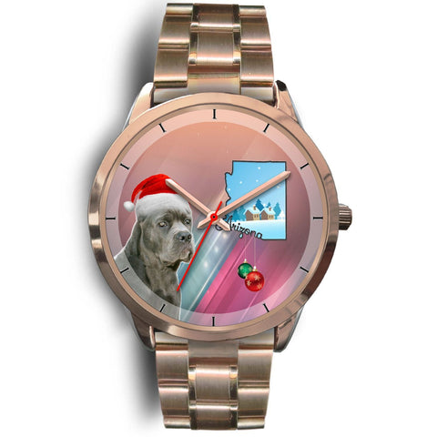 Cane Corso Arizona Christmas Golden Wrist Watch-Free Shipping