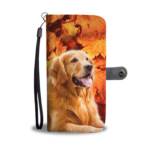 Golden Retriever With leaves Print Wallet Case- Free Shipping