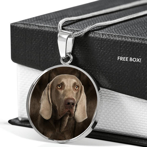 Weimaraner Dog Print Circle Pendant Luxury Necklace-Free Shipping