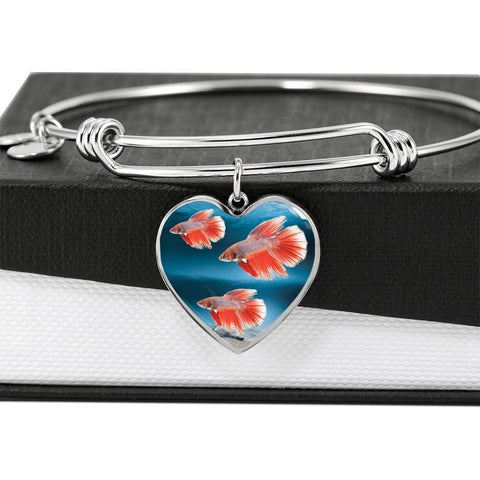 Siamese Fighting Fish Print Heart Pendant Luxury Bangle-Free Shipping