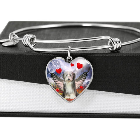 Bearded Collie Print Luxury Heart Charm Bangle -Free Shipping
