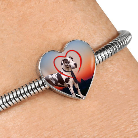 Lovely Great Dane Print Heart Charm Steel Bracelet-Free Shipping