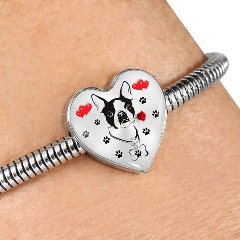 Cute Boston Terrier Print Heart Charm Steel Bracelet-Free Shipping