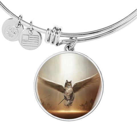 Norwegian Forest Cat Print Circle Pendant Luxury Bangle-Free Shipping