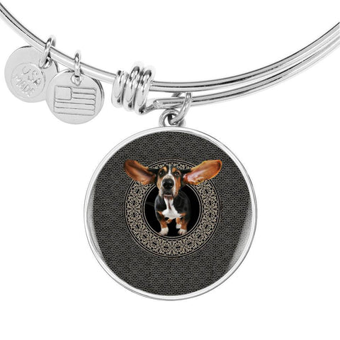 Basset Hound Dog Print Circle Pendant Luxury Bangle-Free Shipping