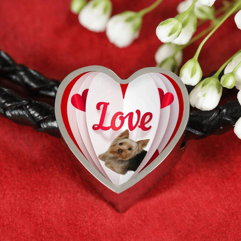 Yorkshire Terrier(Yorkie) Love Print Heart Charm Leather Bracelet-Free Shipping
