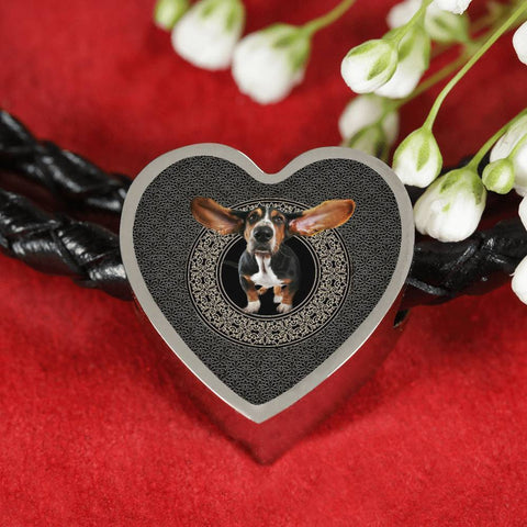 Amazing Basset Hound Dog Print Heart Charm Leather Bracelet-Free Shipping