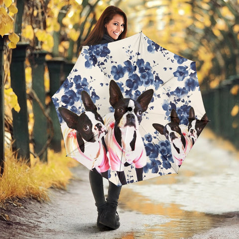 Boston Terrier Flower Print Umbrellas