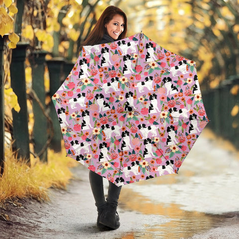 Japanese Chin Dog Floral Print Umbrellas
