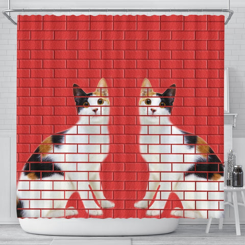 Japanese Bobtail Cat Print Shower Curtain-Free Shipping