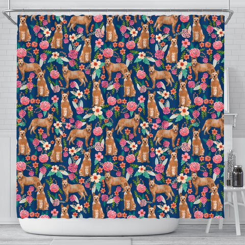 Australian Cattle Dog Floral Print Shower Curtains-Free Shipping