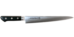 Kikuichi Cutlery Molybdenum Stainless Steel Sujihiki. Slicing knife available in sizes 24 cm and 27 cm.