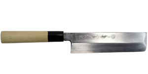 Kikuichi Cutlery Kasumi Series Usuba. Vegetable knife made of white #2 carbon steel.  Available in sizes 15 cm, 18 cm, 19 cm, and 21 cm.