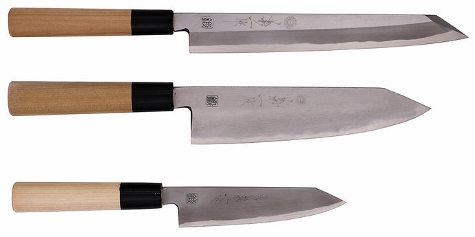 Kokaji White Carbon Kiritsuke 3 Knife Set