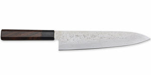 Kikuichi Cutlery Nickel Warikomi Damascus (NWD Series) Gyuto.  Chef's knife available in sizes 21 cm and 24 cm.