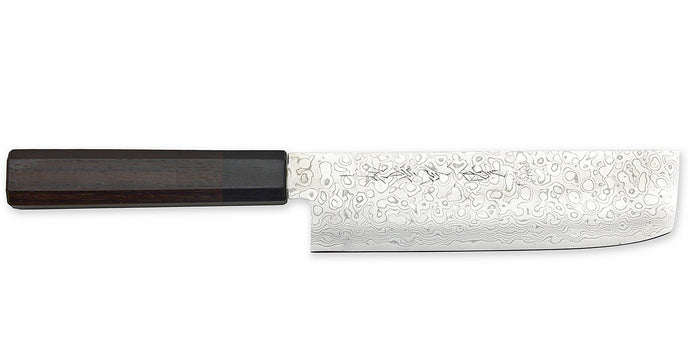 Kikuichi Cutlery Nickel Warikomi Damascus (NWD Series) Nakiri.  Vegetable knife available in 17.5 cm.