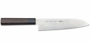 Kikuichi Cutlery Nickel Warikomi Damascus (NWD Series) Santoku.  All purpose knife available in 18 cm.