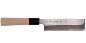Kikuichi Cutlery Kasumitogi Series Usuba. Vegetable knife made of white #3 carbon steel.  Available in sizes 15 cm, 18 cm, 19 cm, 21 cm, and 24 cm.
