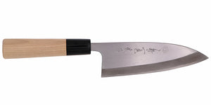 Kikuichi Cutlery Tatsutogi Series Deba. Traditional Japanese boning knife for fish made of SK carbon steel.  Available in sizes 10 cm, 12 cm, 13 cm, 15 cm, 18 cm, 19 cm, and 21 cm.